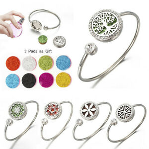 Perfume Oil Diffuser Stainless Steel Crystal Bracelet Aromatherapy Box Jewellery