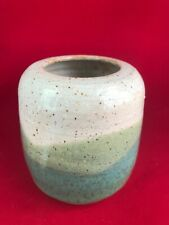 Handmade Pottery Container/vase 4.25'' tall Earth Colors, Nice Quality Signed
