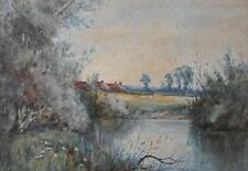 Farmstead Across from a River Indistinctly Initialled Watercolour c1900
