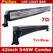 Curved LED Light Bar 42inch 540W Slim Combo Ford Offroad Drivig Lamp 7D Tri Row
