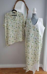 Kasbah Linen 2 Piece Maxi Dress Blouse Sz 4 UK 20-22  Green Cream assymetric hem