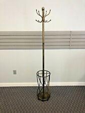 Vintage METAL COAT RACK Hollywood Regency gold burnished hanger stand umbrella