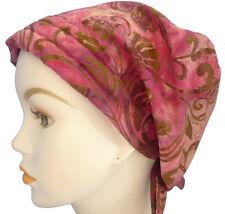 Dusty Pink Batik Cancer Chemotherapy Hat Alopecia Hair loss Cotton Scarf Turban