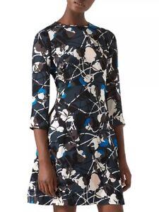 JIGSAW abstracted thistle print IRIS fitted flare hem mini dress UK 10