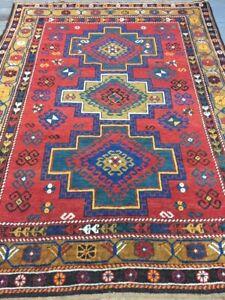 Old Antique Handmade Kazak Wool Rug Carpet Shabby Chic,Size:6 By 4.6Ft