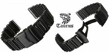 TAURUS 20mm PREMIUM PVD BLACK SHARK MESH SS DIVERS WATCH STRAP BAND + PVD BARS