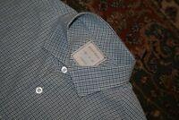Billy Reid Standard White Blue Gray Check Cotton Spread Collar Shirt Medium M