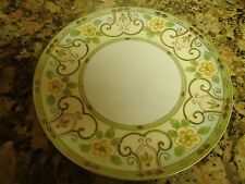 """Art Nouveau Hand Painted Nippon Plate Green Crown Mark 9"""" Yellow Flower c1900"""