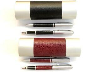 Schreibset Metall Leder Füller + Kugelschreiber mit IHRER Gravur in Geschenk BOX