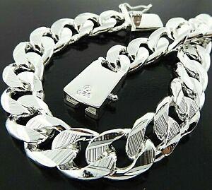 Men's 925 Sterling Silver Filled Bracelet Bangle Real Bling Solid Curb Link 21cm