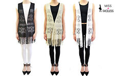 Ladies Pointelle & Ladder designs Waistcoat Knitted Cardigan Womens