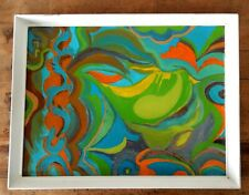 Vintage Painting on Board 1960s Groovy Psychedelic Colours Retro Framed