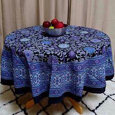 "Handmade Sunflower Print 100% Cotton Tablecloth Round 72"" Round Blue & Black"
