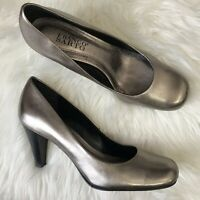 Franco Sarto Size 8 Metallic Heels Pewter Silver Black Stacked Heel Pumps Dublin