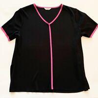 Vintage Exclusively Misook Woman Plus Size 1X Knit Blouse Black & Pink Trim Top