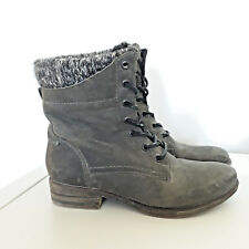 ALDO Grey Leather Lace up Low Ankle Boots Size UK 3 EU 35.5 Military Grunge
