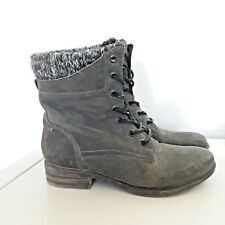 ALDO Grey Leather Military Grunge Lace up Low Ankle Boots Sz UK 3 EU 35.5