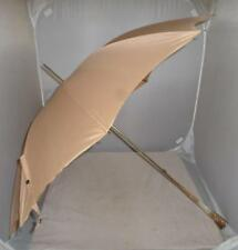 Antique Victorian Ladies Umbrella- Rolled Gold/Mother of Pearl- Rose Pink Canopy