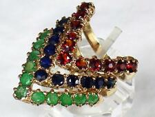 Vintage 9ct Gold 4.40ct Garnet Sapphire & Emerald Stacking Ring Set 1976 . L 1/2