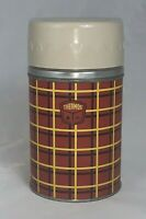 Vintage Thermos # 5054 Wide Mouth Vacuum Bottle Red Yellow Plaid 10 oz USA Made
