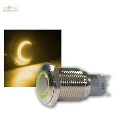 Druckschalter Metall, max. 230V/3A, Schalter mit LED Beleuchtung-Ring Gelb
