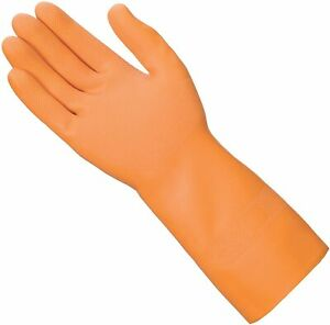 Mr. Clean Ultra Grip Premium Latex Gloves with Grippers, Small - Orange