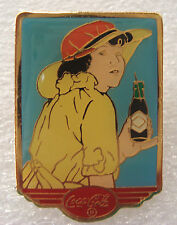 Coca Cola 20s Calendar Pin Up Girl Yellow Hat Coke Bottle Lapel Pin Tie Tac 1994