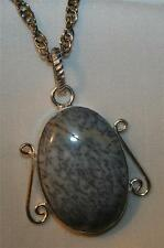 Striking Medium Airy Wire Rim White Veined Dendritic Agate Silvertone Necklace