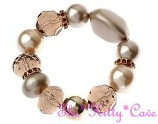 Chunky Topaz Brown Nuggets Pebbles Stretch Bracelet W/ Swarovski Crystal Bling
