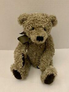 Russ Macintosh Teddy Bear Plush Green Bow Curly Stuffed
