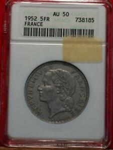 1952 France 5 Francs Silver Foreign Coin ANACS Graded AU 50
