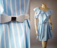Light Blue White Vertical Stripe Ruffle Bow Belt Sun 260 mv Dress 1XL 2XL 3XL
