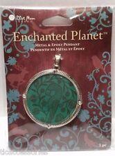 Blue Moon Beads Enchanted Planet Metal & Epoxy Pewter Bird Pendant 40MM