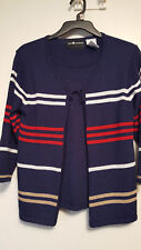 Ladies Sag Harbor Sweater Twin Set Attached Red White Stripe Navy 3/4 Sleeve PS