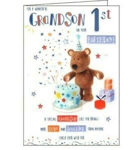 FOR A WONDERFUL GRANDSON ON YOUR 1ST BIRTHDAY - CUTE BIRTHDAY CARD