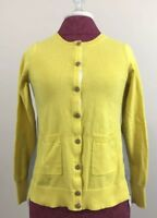 CAbi Belle Cardigan Size XS Yellow Gray White Lace Trim Button Up Sweater