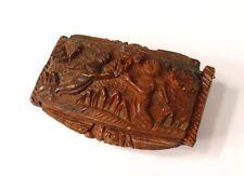 Tabatière corozo sculpté angelots putti musicien harpe travail bagnard XIXè