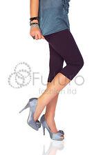 Womens 3/4 Length Cropped Leggings Plus Size 8 10 12 14 16 18 20 22 24 26 28 30