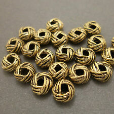 Antique Gold Alloy Metal Turkish Knot Beads 32 Pieces 6mm #0145