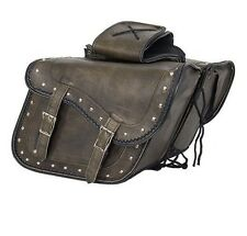 TWO PIECE MOTORCYCLE BIKE REAL LEATHER DISTRESSED BROWN SADDLEBAG W/ GUN POCKET