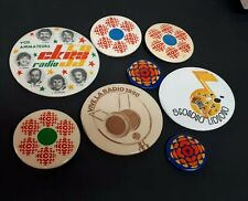 Vintage 1980s Canadian Radio Station CKRS CBC  Pinback Button Lot OF 8 Pins