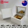 White Square Gold Wind Up Wood Wooden Classic Music Box: Over the Rainbow
