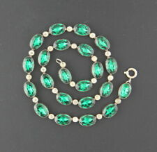 & Clear, Engraved Flat Back Antique Georgian Riviere Paste Necklace, Emerald