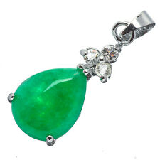 Chinese Emerald Green Jade Jadeite 18K White Gold Plated Teardrop Pendant #016