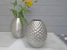 Vase Happy silber groß, 18 cm -  Blumenvase aus Keramik, Deko in silber farbig.
