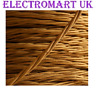TWISTED BRAIDED ANTIQUE VINTAGE FABRIC LIGHTING CABLE WIRE 3 CORE 0.75MM  GOLD