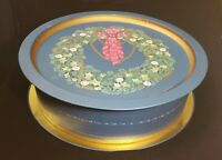 "House of Lloyd 1993 Christmas Wreath Tin Blue/Gold 13"" Round 