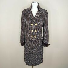St. John Collection Boucle Tweed Jacket Skirt Suit Set Brown Multicolor Knit 6