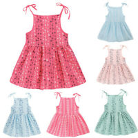 Toddler Kids Baby Girls Solid Flower Print Princess Party Dress Sundress Clothes