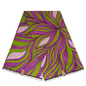 African fabric Purple / green big leaves - wax print Ankara kitenge wax cloth